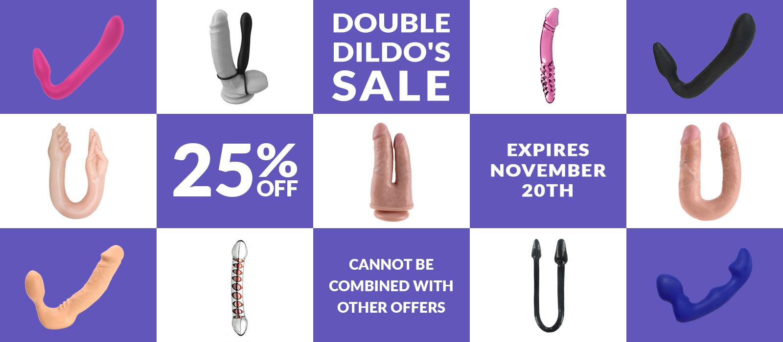 Double Dildo Sale 25% off. Share a Dong with a friend