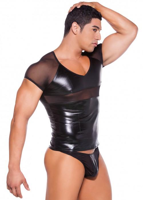 Sex Men's Wet Look T-shirt and thong