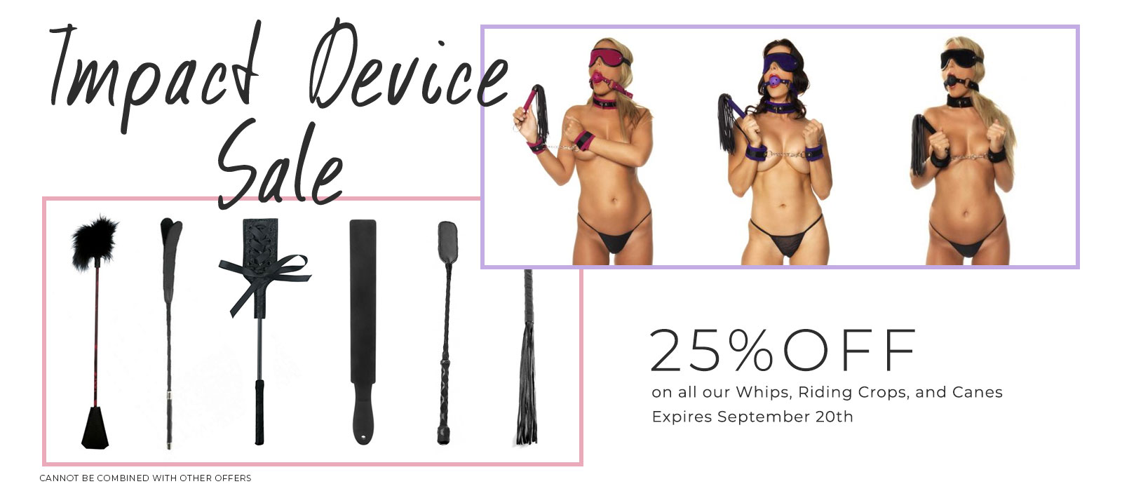 25% off all our whips, paddles, canes and crops